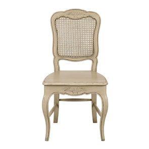 Chaise cannée en pin massif beige - Château