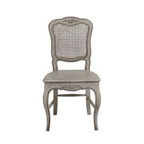 Chaise en pin massif gris dossier canné - Château
