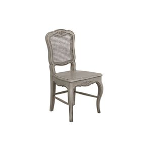 Chaise en pin massif gris dossier canné - Château - Visuel n°2