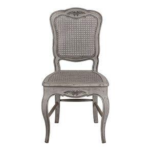 Chaise cannée Louis XV en pin gris argenté - Château