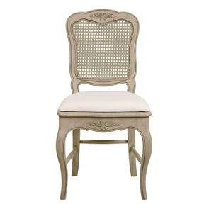 Chaise cannée en pin massif et tissu - Château