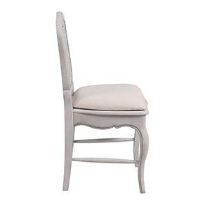 Chaise cannée assise tissu blanc opaline - Château - Visuel n°5