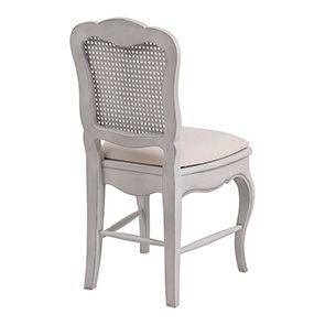 Chaise cannée assise tissu blanc opaline - Château - Visuel n°6