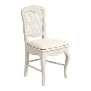 Chaise cannée assise tissu blanc vieilli - Château - Visuel n°2