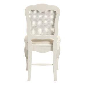 Chaise cannée assise tissu blanc vieilli - Château - Visuel n°5