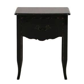 Table de chevet noir graphite 1 tiroir en épicéa