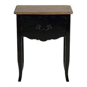 Table de chevet noire 1 tiroir en épicéa