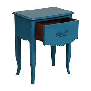 Table de chevet bleue 1 tiroir en épicéa - Visuel n°2