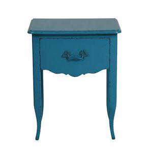 Table de chevet bleue 1 tiroir en épicéa