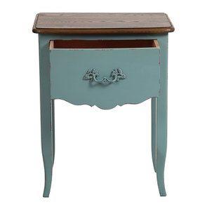 Table de chevet 1 tiroir en épicéa nuage de bleu glossy et plateau frêne - Visuel n°2
