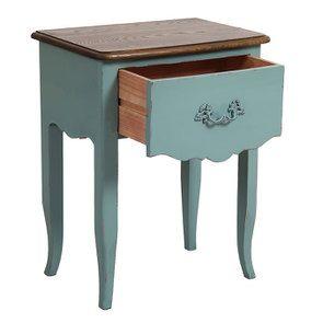 Table de chevet 1 tiroir en épicéa nuage de bleu glossy et plateau frêne - Visuel n°3