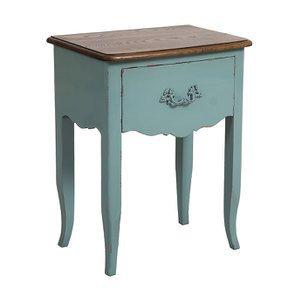 Table de chevet 1 tiroir en épicéa nuage de bleu glossy et plateau frêne - Visuel n°4