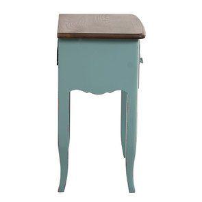 Table de chevet 1 tiroir en épicéa nuage de bleu glossy et plateau frêne - Visuel n°5