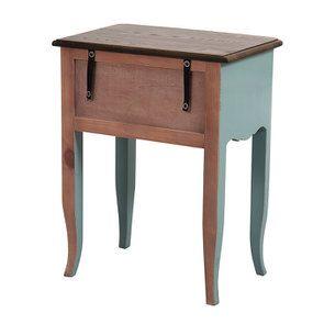 Table de chevet 1 tiroir en épicéa nuage de bleu glossy et plateau frêne - Visuel n°6