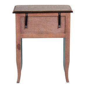 Table de chevet 1 tiroir en épicéa nuage de bleu glossy et plateau frêne - Visuel n°7
