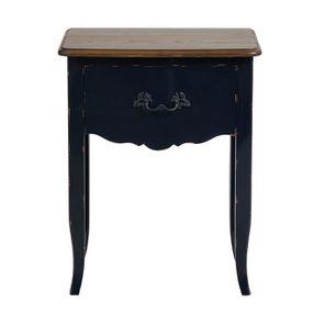 Table de chevet bleu indigo et plateau bois 1 tiroir en épicéa