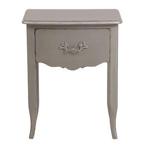 Table de chevet gris fumé 1 tiroir en épicéa