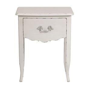 Table de chevet 1 tiroir en épicéa blanc nacré glossy