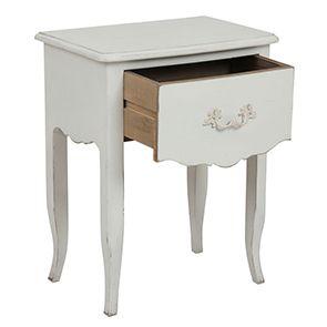 Table de chevet 1 tiroir en épicéa blanc mat - Visuel n°2