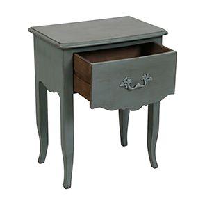 Table de chevet 1 tiroir en épicéa bleu mat - Visuel n°2
