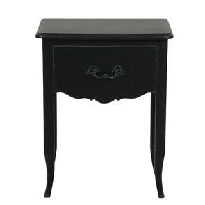 Table de chevet 1 tiroir en épicéa noir graphite patiné
