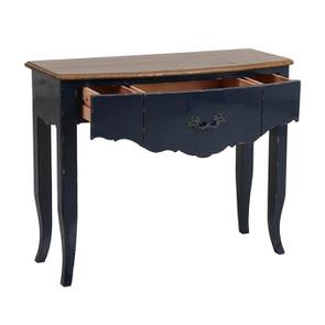 Console bleue plateau en bois 3 tiroirs en épicéa - Visuel n°3