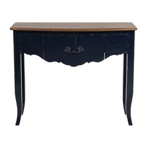 Console bleue plateau en bois 3 tiroirs en épicéa