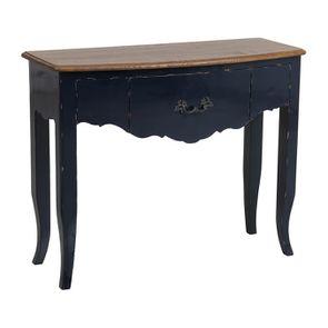 Console bleue plateau en bois 3 tiroirs en épicéa - Visuel n°4