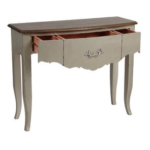 Console grise plateau en bois 3 tiroirs en épicéa - Visuel n°3