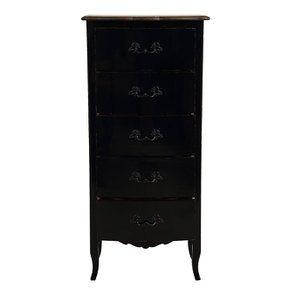 Commode chiffonnier 5 tiroirs noir graphite glossy - Visuel n°2