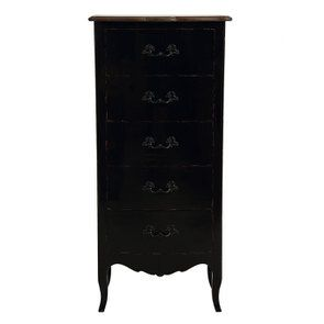 Commode chiffonnier 5 tiroirs noir graphite glossy