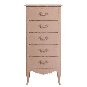 Commode chiffonnier rose poudré 5 tiroirs