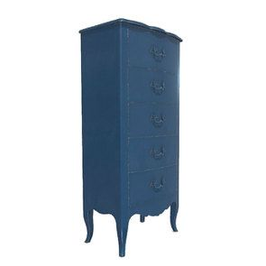 Commode chiffonnier Louis XV 5 tiroirs en pin bleu indigo - Visuel n°2