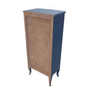 Commode chiffonnier Louis XV 5 tiroirs en pin bleu indigo - Visuel n°4