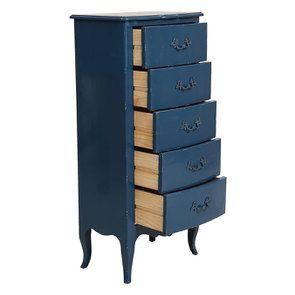 Commode chiffonnier bleu saphir 5 tiroirs - Visuel n°2