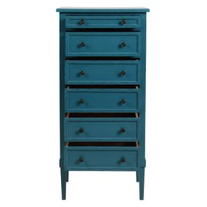 Commode chiffonnier bleu turquoise 6 tiroirs - Visuel n°2