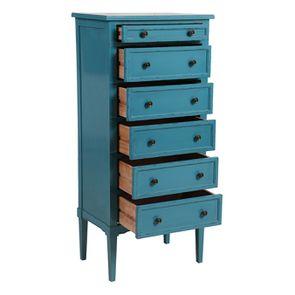 Commode chiffonnier bleu turquoise 6 tiroirs - Visuel n°3