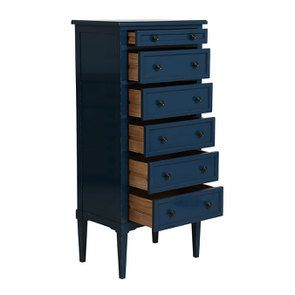 Commode chiffonnier bleu saphir 6 tiroirs - Visuel n°3