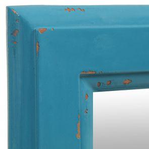 Miroir rectangulaire long en bois bleu turquoise