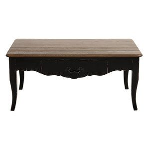 Table basse rectangulaire 1 tiroir noir graphite glossy