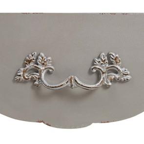 Table basse gris fumé Louis XV en pin 2 tiroirs