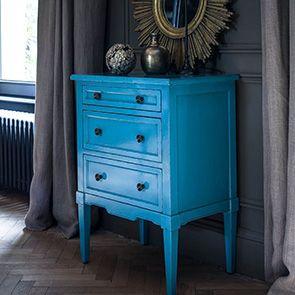 Petite commode 3 tiroirs en épicéa bleu turquoise
