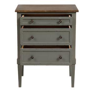 Petite commode 3 tiroirs vert de gris glossy - Visuel n°2