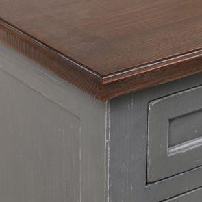 Petite commode 3 tiroirs en épicéa gris vieilli - Visuel n°10