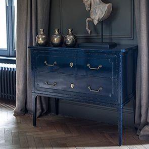 Commode sauteuse 2 tiroirs en épicéa bleu indigo - Visuel n°2