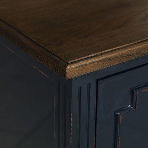 Commode sauteuse 2 tiroirs en épicéa bleu indigo glossy - Visuel n°10