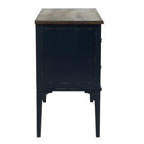 Commode sauteuse 2 tiroirs en épicéa bleu indigo glossy - Visuel n°5