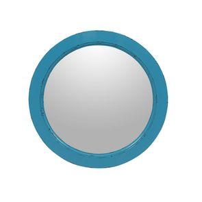 Miroir rond bleu turquoise en bois