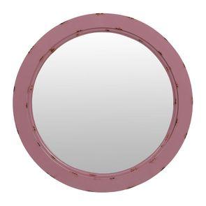 Petit miroir rond en bois lilas glossy