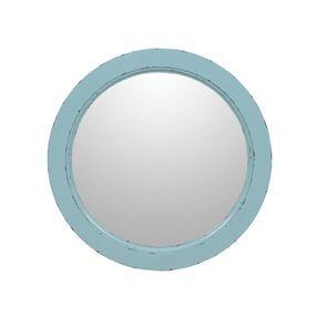 Miroir rond nuage de bleu en bois D57 cm